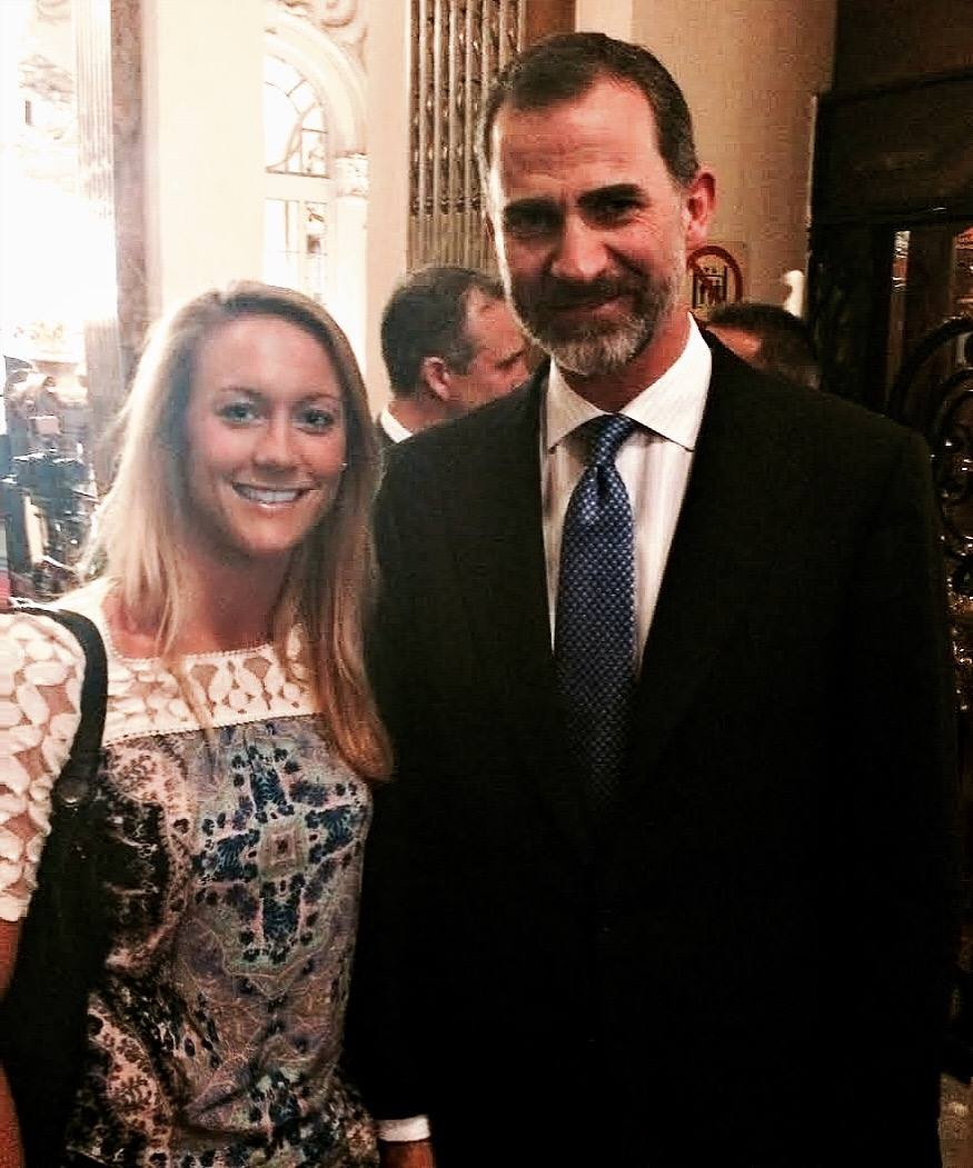 Cassie with the King of Spain, Felipe VI