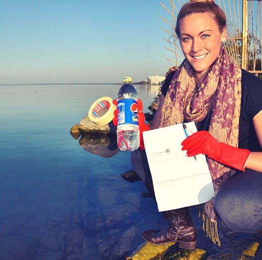 Collecting water samples at Lake Balaton in Hungary. October 24th, 2015.